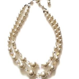 1960s Faux Pearl Double Strand Vintage Necklace